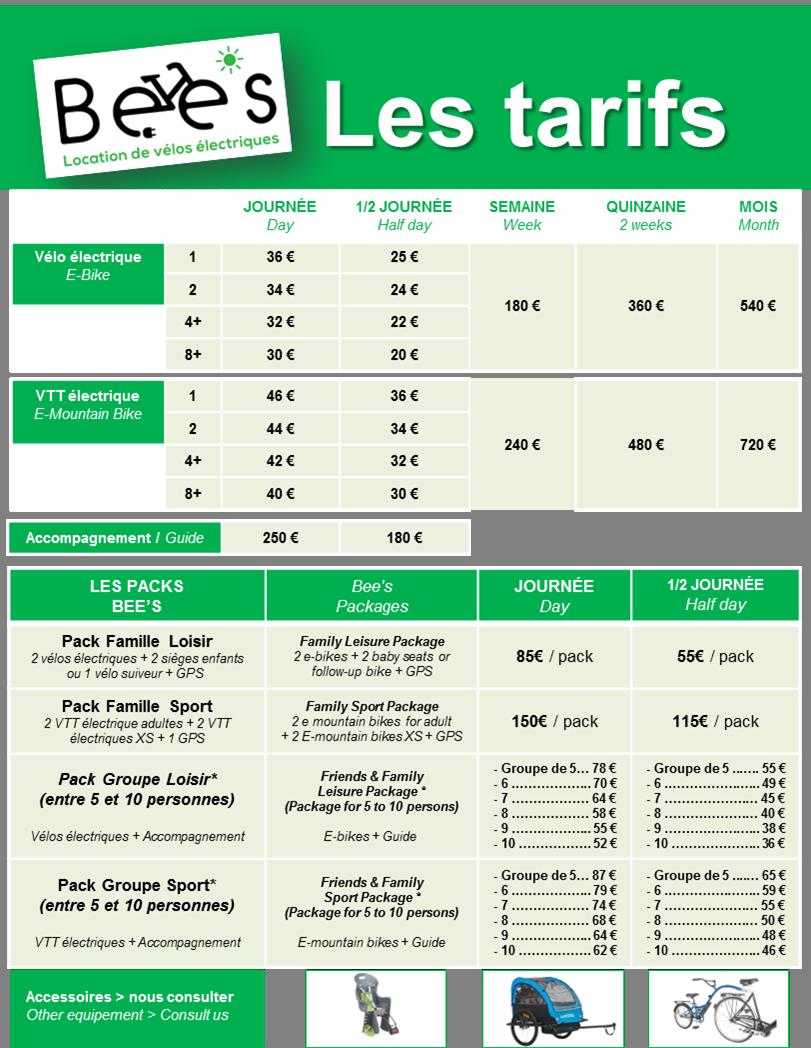 tarif location velo electrique bee's
