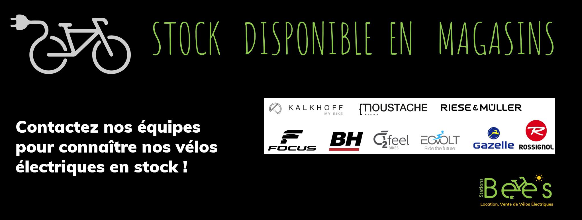 stock de vélos électriques disponibles dans les magasins du reseau stations bees